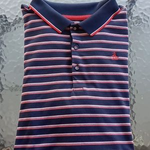 Penguin Men's Blue and Red Striped Polo Shirt